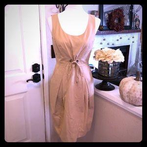 Lafayette 148 Tie WaistPocketed Sleeveless Dress